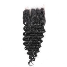 Blkt 12 inches Peruvian Deep Curl 4X4 Three Parts Closure