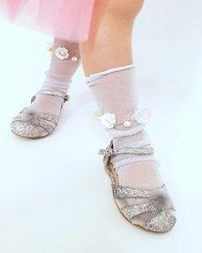 Anjo Couture Flower Embellished Mesh Sock White