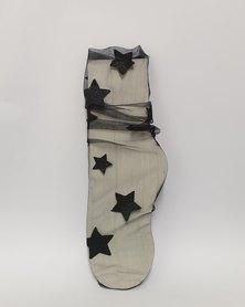 Anjo Couture Mesh Sock Glitter Stars