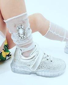 Anjo Couture Diamante Broach Mesh Sock