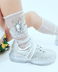 Anjo Couture Diamante Broach Mesh Sock