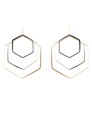 utopia hectagon drop earrings black silver gold zando