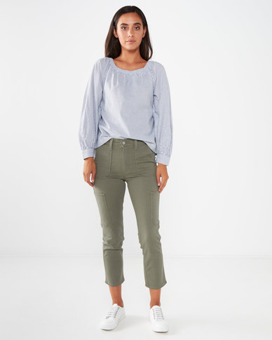724 Utility High Rise Straight Crop Jeans