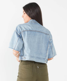 Short Sleeve Cropped Dad Trucker Jacket
