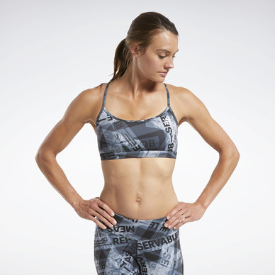Crossfit® Skinny Strap Medium-Impact Taped Print Bra