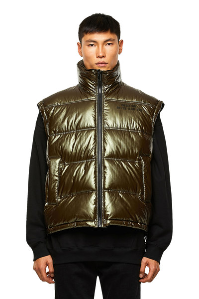Quilted Vest With Metallic Finish