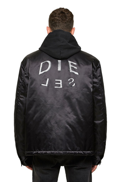 Padded coach jacket in nylon satin