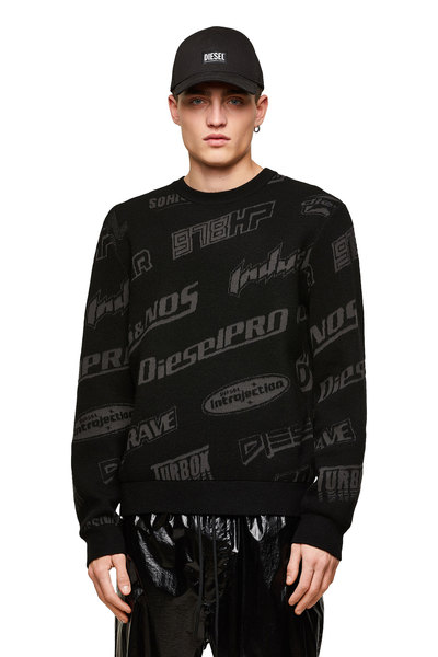Pullover With Logo Jacquard