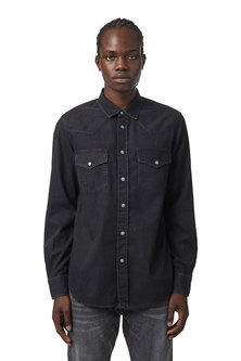 Western shirt in washed denim