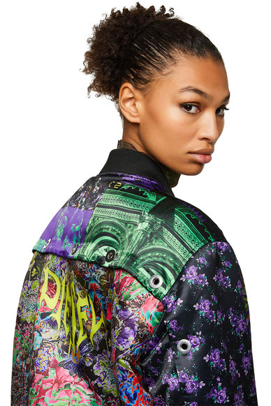 Bomber Jacket With Floral Patchwork