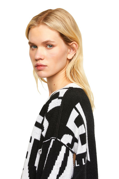 Ribbed Pullover With Logo Intarsia