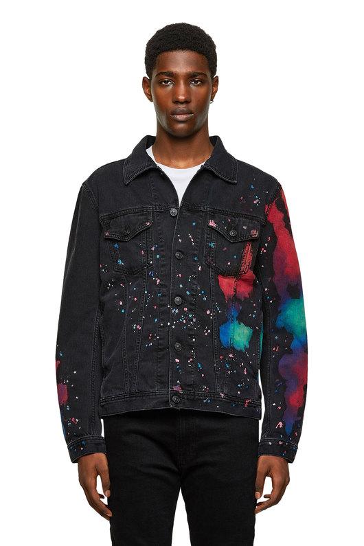 Trucker Jacket With Splashed Print