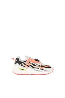 Chunky sneakers in zebra-print pony hair