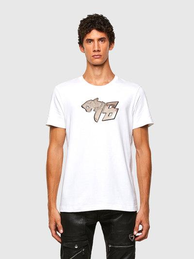 Cotton T-Shirt With Gunmetal Print