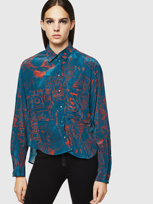 Printed Satin Shirt With Graphic Print