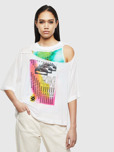 Layered Cut-out T-shirt with Print