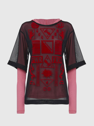 Double-Layer Top With Flock Print