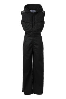 Hooded Jumpsuit In JoggJeans And Nylon