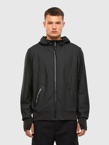 Hooded Jacket In Coated Sweat Fabric
