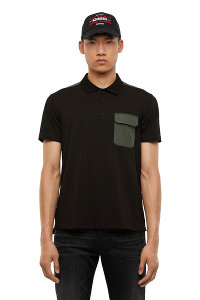 Cotton Polo Shirt With Nylon Details