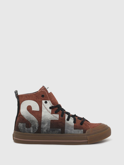 High-Top Sneakers In Treated Canvas