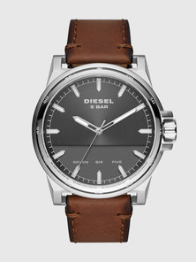 Three-Hand Brown Leather Watch