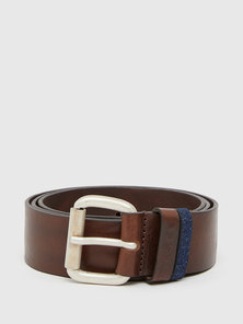 Leather Belt with Denim Loop