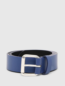 Faux Leather Belt with Logo Print
