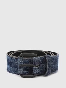 Denim Belt with Leather Reverse