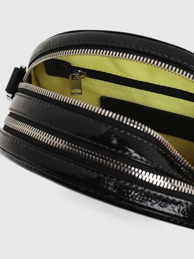 Round Cross-Body In Metallic Leather