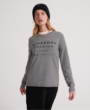 Dunne Stripe Ls Graphic Top