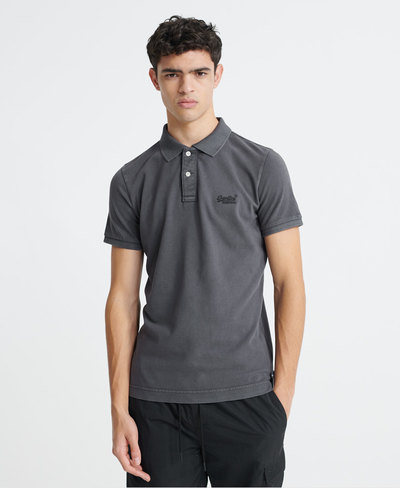 Organic Cotton Vintage Destroyed Pique Polo Shirt