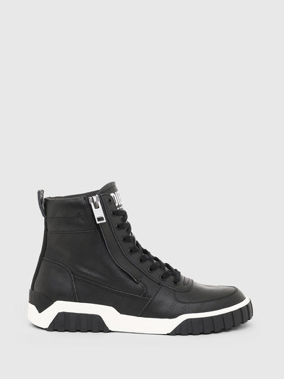 High-Top Sneakers In Perforated Leather