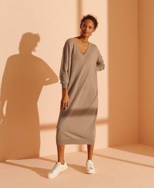 Wool Cashmere V-Neck Dress