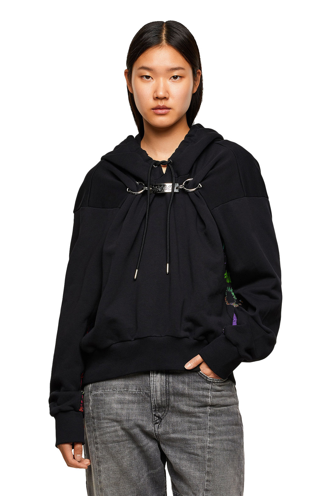 Hoodie with printed inserts