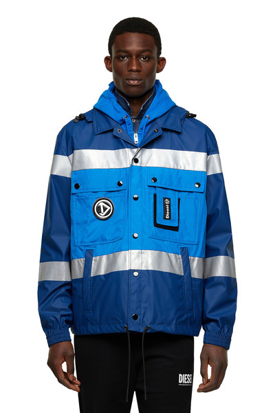 Hooded jacket with reflective bands