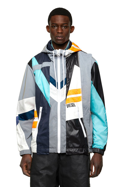 Hooded jacket in patchwork shell