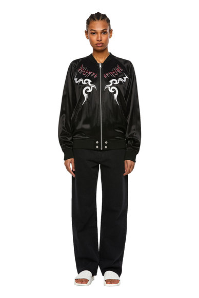Reversible bomber with embroidery