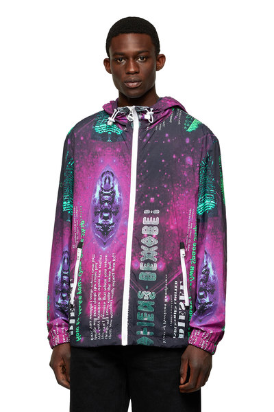 Nylon jacket with Digicosmos print