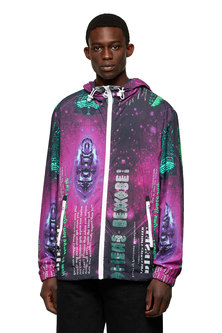 Nylon jacket with Digicosmos print