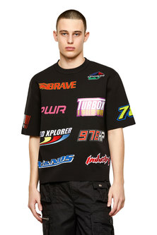 Short-sleeve pullover with sporty labels