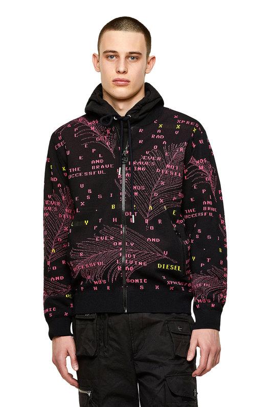 Bomber jacket in logo-jacquard knit