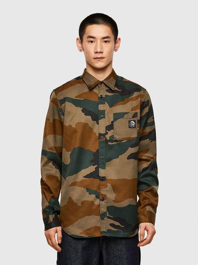 Twill shirt with camo print