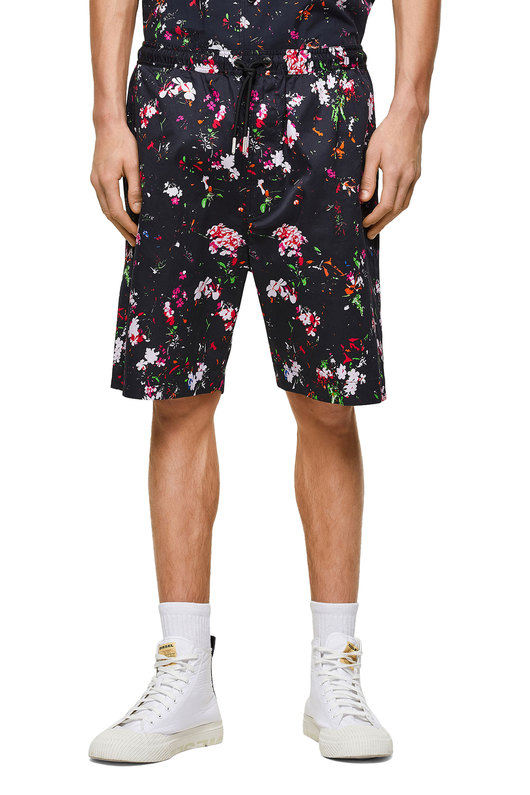 Twill shorts with floral print