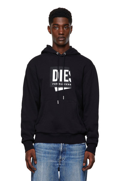 Hoodie with folded jacquard label