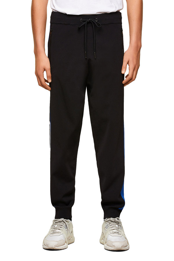 Fine-knit sweatpants with side bands