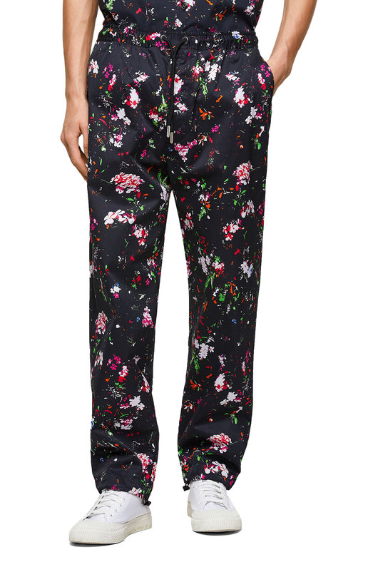Twill pants with floral print
