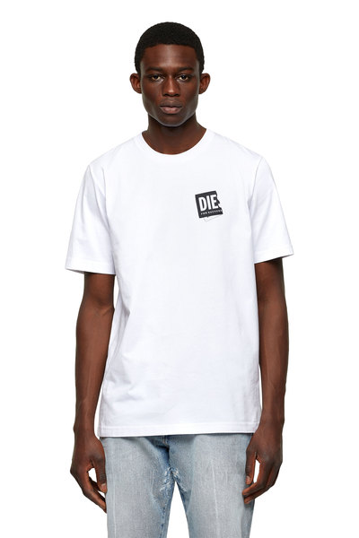 T-shirt with folded logo patch