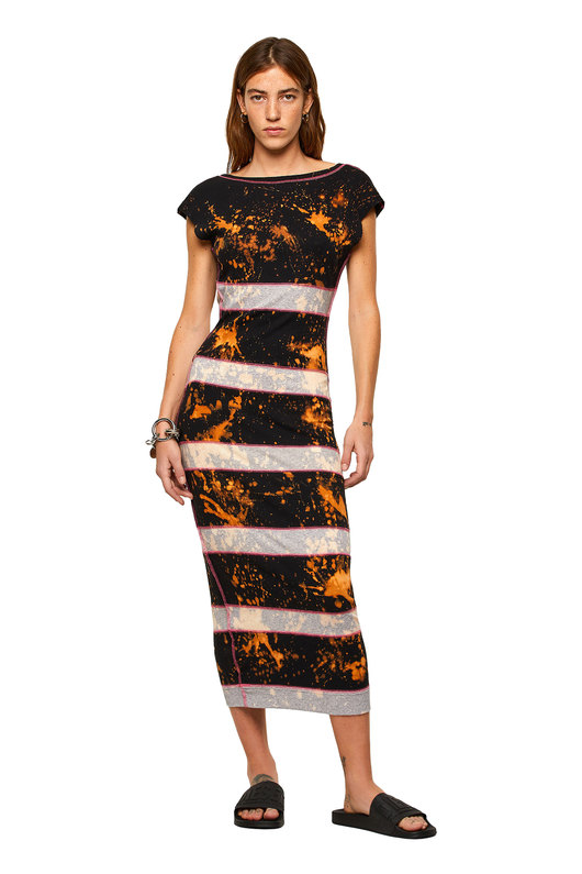 Striped midi dress with bleached effect