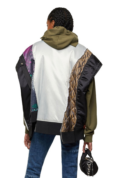 Bomber vest with graphic patchwork